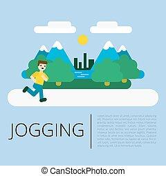 Jogging man in a park flat illustration