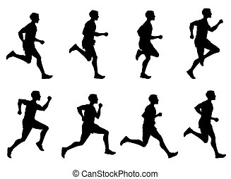 Jogging man, running athlete, runner vector silhouettes set