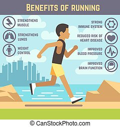 Jogging man, running guy, fitness exercise lifestyle cartoon vector concept