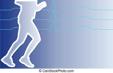 jogging man - illustration of a jogging man with heart...