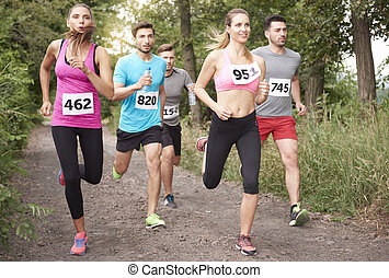 Jogging marathon in the forest