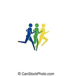 jogging, mensen, rennende , icon., of