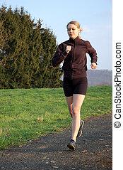 jogging, mujer, joven