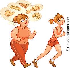 jogging, mujer, joven, grasa, delgado