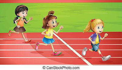 jogging, niños, tres
