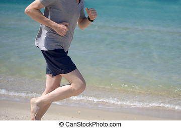 Jogging on a beach