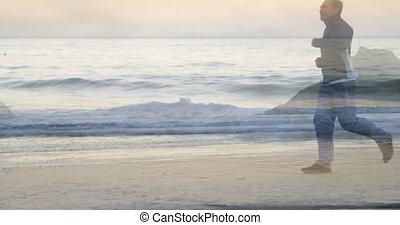 Jogging on the beach 4k