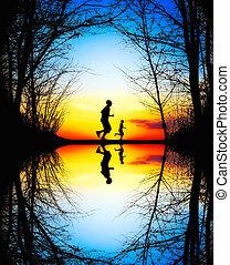 jogging, op, ondergaande zon