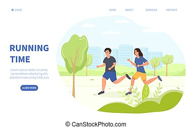 Jogging or Running Time health and fitness concept with two young joggers in a green spring park and copy space for text, vector illustration