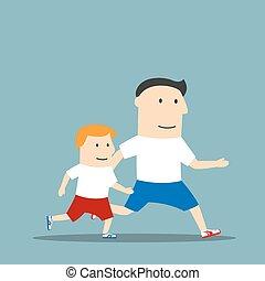jogging, père, dessin animé, ensemble, fils