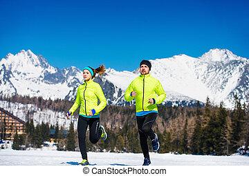 jogging, paar, junger