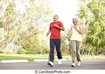 jogging, paar, park, senior