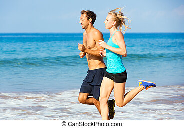 jogging, paar, sandstrand, sportliche , zusammen