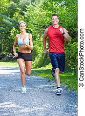 jogging, paar.