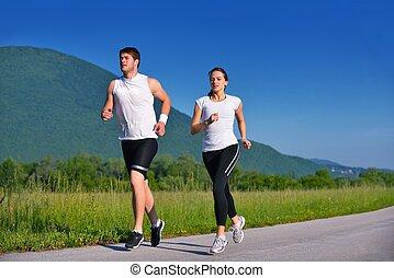 jogging, para, młody