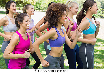 jogging, parc, femmes