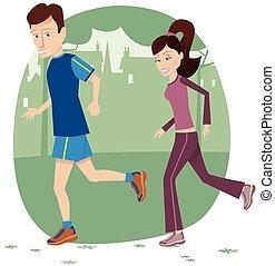 jogging, parco, coppia