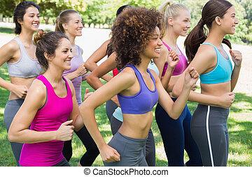 jogging, parco, donne