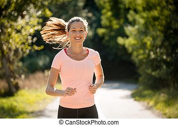 jogging, parco, felice
