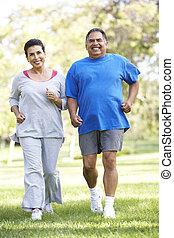 jogging, pareja, parque, 3º edad