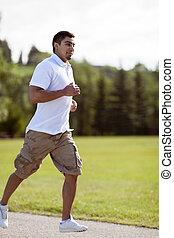 jogging, parque, joven
