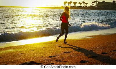 jogging, plages, sable, matin, mer