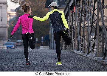 jogging, prima, coppia, scaldata