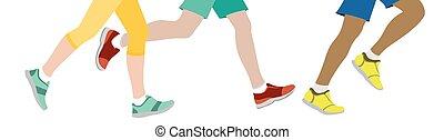 jogging, quelques-uns, gens