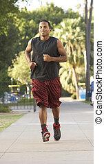 jogging, rue, jeune homme