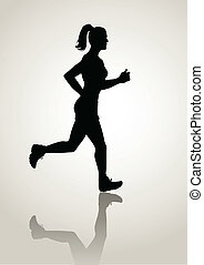 Jogging - Silhouette illustration of a female figure jogging