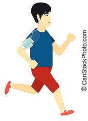 jogging, smartphone., audífonos, hombre