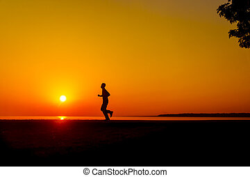 jogging, sonnenuntergang