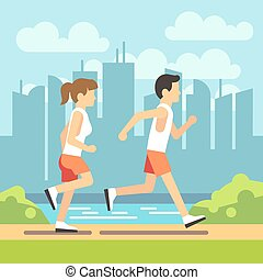 Jogging sport people, athletic running man and woman. vector healthcare concept