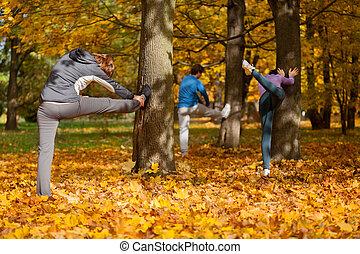 jogging, -, su, warming