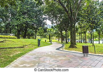 Jogging track at garden