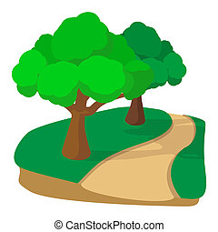 Jogging track in the park cartoon icon on a white background