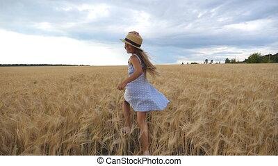 jogging, trigo, feliz, cebada, sombrero, pradera, hermoso,...