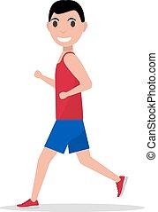 jogging, vecteur, courant, homme, dessin animé