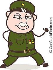 jogging, vecteur, dessin animé, illustration, sergent