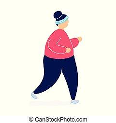 jogging, vrouw, dik, gewicht, verliezen