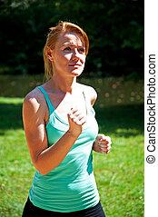 jogging, vrouw, jonge, natuur