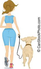 jogging, vue, dos, girl, chien