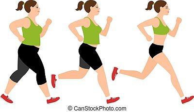 Jogging weight loss woman. Overweight fat lady and fitness slim girl vector illustration