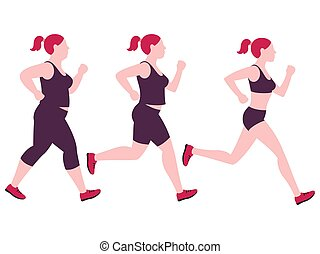 Jogging weight loss woman. Overweight fat lady and fitness slim girl vector isolated on white background