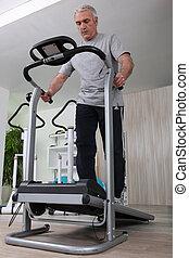 jogging, wiek średni, sala gimnastyczna, człowiek