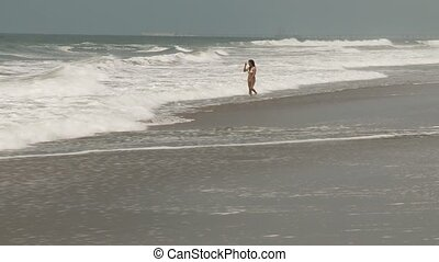 Jogging Woman at Beach