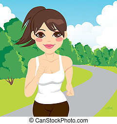Jogging Woman Running In Park - Beautiful happy young...