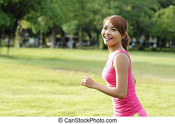 Jogging woman running
