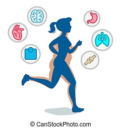 Jogging woman, running infographic elements, loss weight cardio training. Vector illustration.