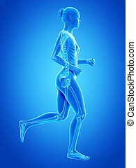 Jogging woman - visible bones